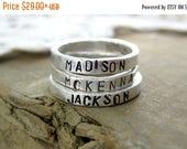 Earth Day Sale Rustic Name Stacking Ring// Fine Silver //Recycled Silver//Eco Friendly // Monogrammed Ring // Custom Word Ring // Hammered R