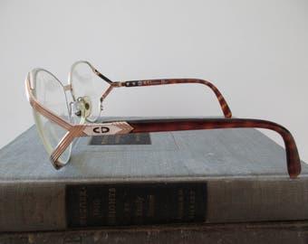 80s vintage christian dior wire rim eyeglass frames glasses gold large made in austria