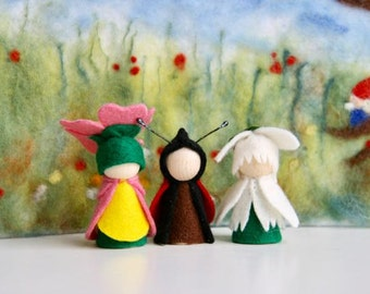 Spring Set 1. snowdrop Ladybird, rosy primerose / Flower dollWaldorf Inspired natural Table doll