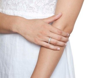 Classic Wedding Band , White Diamond Wedding Ring - Solid Platinum 950 Thin Wedding Band - Classic Gold Ring - Size 8.5 Studded Ring