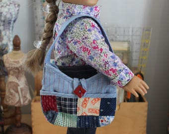 Tote Bag in Blue Chambray with Vintage Quilt Block Outer Pockets for 18 Inch Doll,  AC12