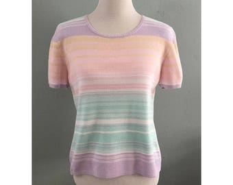 90's Pastel Striped Shirt, Women's Large