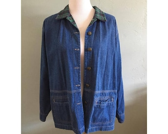 90's Denim Over Shirt with Plaid Trim, Women's M-L