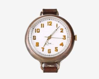 Vintage Steampunk Handmade Wrist Watch with Handstitch Leather Band /// BrunoYum - Perfect Gift for Birthday, Anniversary