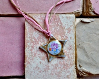 Make a wish : Necklace w/ antique Limoges gold star w/ floral handpainted motif, two pink silk cords & real gold antique cord, boho bride