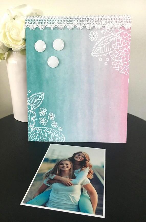 Boho Girl V2 color turquesa fotos magnético marco hecho a