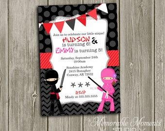 PRINTABLE INVITATIONS Ninja Birthday Invitation - Memorable Moments Studio