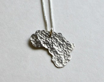 Africa Necklace. A Heart for Kilimanjaro Tanzania Sterling Silver Shaped African Jewelry. I Heart Kenya Adoption Art Love Pendant.