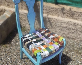 Upcycled, Shabby Chic Chair, Seat woven from belts, vintage, eclectic, repurposed, sustainable, bohemian furniture, recycled, duck egg blue