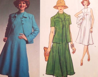 PRINCESS SEAM DRESS Pattern • Vogue 1465• Miss 16 • Pointy Collar Jacket • Sleeveless Dress • Molyneux • Designer Patterns • WhiletheCatNaps
