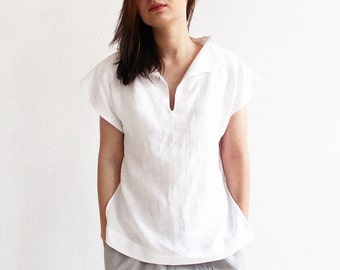 Linen blouse, Linen women's clothing, Short sleeve linen shirt, Linen womens tops, White blouse, White linen blouse, White top for woman