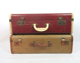 Vintage Luggage Suitcase Old Luggage Rustic Decor Storage Red Ivory