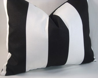 Black White Indoor/Outdoor Pillow Black White Stripe Pillow 13x16 Cover
