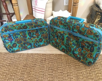 Vintage Floral Retro Set of Suitcases Luggage - Shabby Chic - Cottage Chic