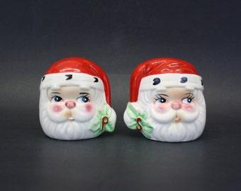 Vintage Large Santa Claus Head Salt & Pepper Shakers (E8239)