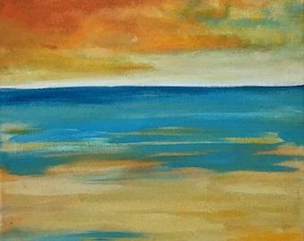 Beach scene,seashore art,waves painting,acrylic beach painting,original art,Painting of gulf Shores,painting of the sea,storm waves painting