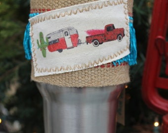 Glamper and Vintage Truck Wrap with Christmas Cactus Turquoise Fringe 30 oz tumbler wrap -cup sleeve - Yeti - Ozark Trails Tumbler Wrap - Y4