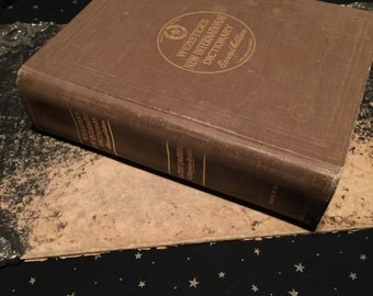 Huge Antique Dictionary c. 1961 Webster's Unabridged with Color Plates at Gothic Rose Antiques