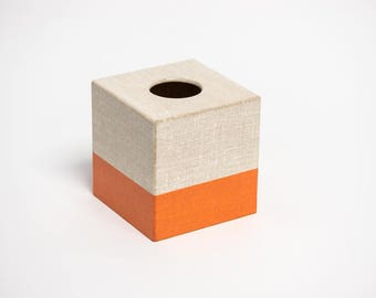 Hessian Orange Tissue Box Cover wooden handmade in UK