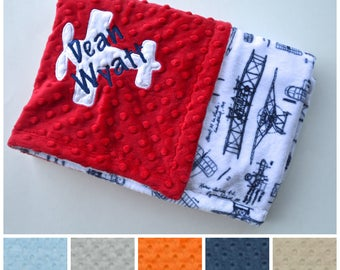 Monogrammed Baby Blanket - Minky Vintage Airplane Baby Blanket - Navy Blue and White  Plane blanket with name, Personalized Gift Newborn