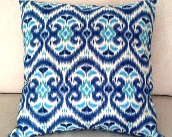 "Ikat Pillow Cover Blues, Ivory  Cotton Slub ""Alhambra Amour"", original design by IMAN  Fabric - 18 x 18 inch, invisible zipper closure"