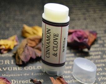 Cinnamon & Clove Lip Balm - Herbal Lip Balm - Cinnamon and Clove Essential Oil Oval Lip Salve