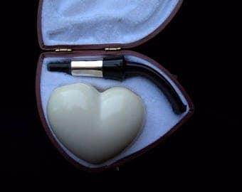 Valentine Day Heart Slide in Pocket Block Meerschaum Pipe Gift Silver Ring 4285