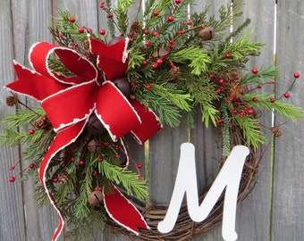 Christmas / Holiday Wreath, Monogram Christmas Wreath, Christmas Wreaths, Rustic Bell Christmas Wreaths, Christmas Wreaths Etsy