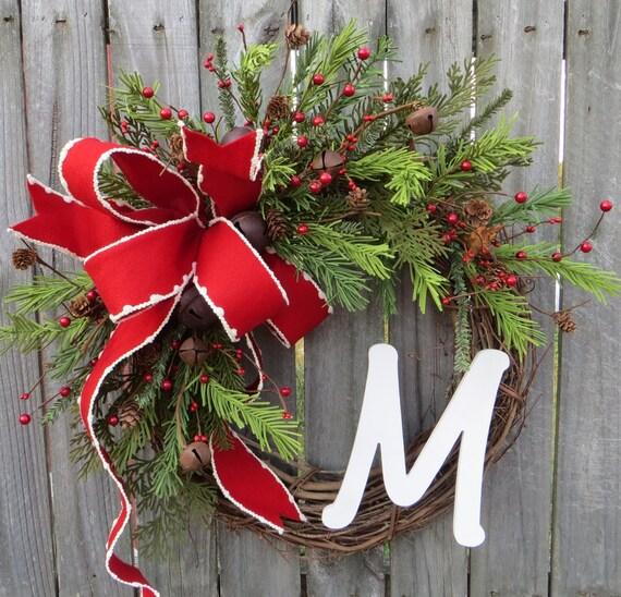 Christmas / Holiday Wreath, Monogram Christmas Wreath, Christmas Wreaths, Rustic Bell Christmas Wreaths, Christmas Wreaths Etsy