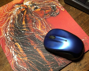 Golden Horse Mousepad - Autumn Sundance - mousepad from original batik by Carol