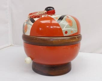 Vintage Oriental Orange Jewelry Box Music Box Trinkets Treasures Retro Find