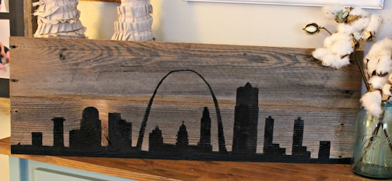 Reclaimed Wood St. Louis Skyline- black. ◅ - Reclaimed Wood St. Louis Skyline Black