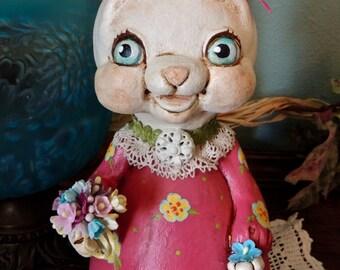 Primitive Folk Art Gourd Bunny