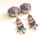 "1 inch Boho Beaded Dangle Plugs 22mm 7/8 Choose Rose Color 19mm 3/4"", 25mm, 20mm 13/16"" Gauges Acrylic/Wood/Steel Screw Back Tunnels"