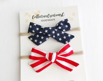 4th of July Bows - Patriotic Bows - Stars and Stripes - July 4th Headband - Baby Headbands - Baby Bows - Baby Bow Headbands- Baby Bow Clips