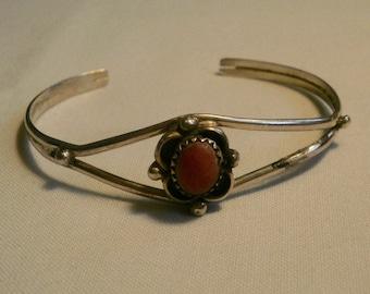 Vintage Sterling Silver Coral Cuff Bracelet