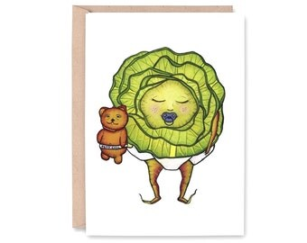 BABY CABBAGE, Petit Chou - Note Card - BLANK -  congratulations, baby announcement, New baby card, baby shower, Greeting Card