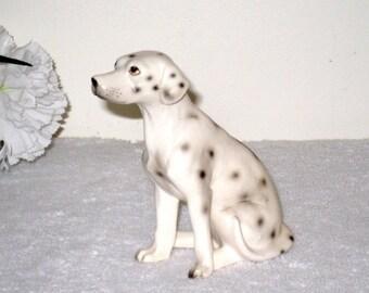 Realistic Vintage Ceramic Dalmatian, Dalmation Figurine, Souvenir of Long Beach, Cal. 4 1/4 x 2 x 3 5/8 Inches