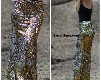 Black/Gold/Silver Maxi Sequin Skirt - Elegant, gorgeous sequins- Long skirt (S,M,L,XL)