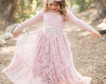 dusty rose flower girl dress, lace flower girl dresses, mauve lace dress, baby dress, long sleeve dress, toddler, baby girl, country, rustic