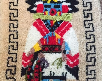 Finished MORNING SINGER Kachina Wall Hanging Latch Hook Rug Talavai Native