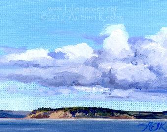 Camano Island Clouds I - Framed Original Plein-air Altoid Tin Oil Painting on Canvas - 2x3 Inches Square