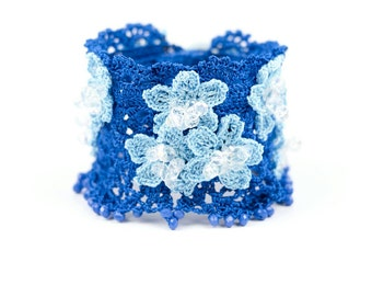 RESERVED FOR J Bracelet-Handmade Crochet Beadwork Luxury Statement Blue Flowers Bracelet, Bohemian Style Cuff, Crochet Floral Bracelet
