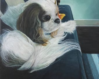 Cavelier King Charles Spaniel gift custom pet portrait painting on canvas hand painted dog art