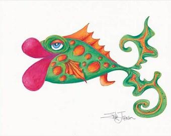 Big Fish-Original pen,ink and pencil drawing-fish art-art fish-large scale drawing 18 x 24 inches-beach house decor-wall art-coastal