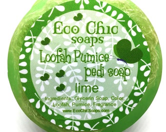 Loofah Pumice pedi soap - Natural Exfoliating Scrubby Soap with Pumice - Lime