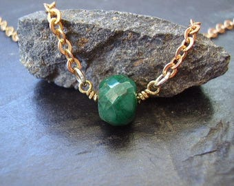 Genuine Emerald Necklace, Rustic Faceted Solitaire Bead, Solid Raw Brass Necklace, Boho Gypsy Festival, Birthstone Of May, Gifts for Her