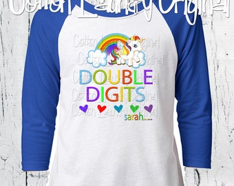 DOUBLE DIGITS Tenth birthday girls birthday 10 year old raglan baseball style tee shirt birthday girl tween shirt rainbow and unicorns