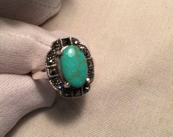 Vintage Turquoise Gemstone 925 Sterling Silver vine Ring
