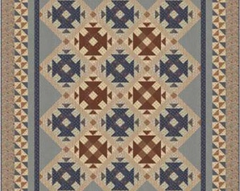 """SALE, Settler's Fork Quilt Pattern by Border Creek Station, BCS 1149, 72""""x88"""", Features Jo Morton 'Reflections' Quilt Fabric"""